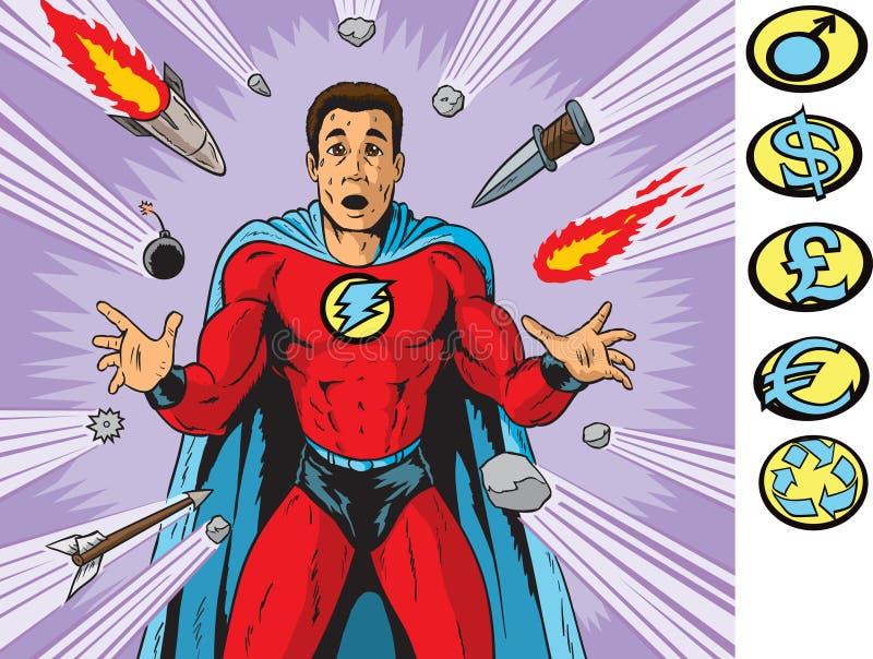Target Hero. Super hero being targeted by weapons vector illustration