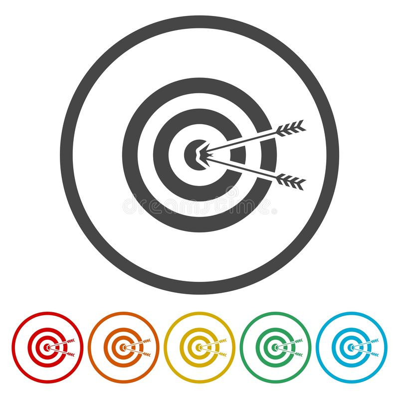 Target hit in the center by arrows vector illustration