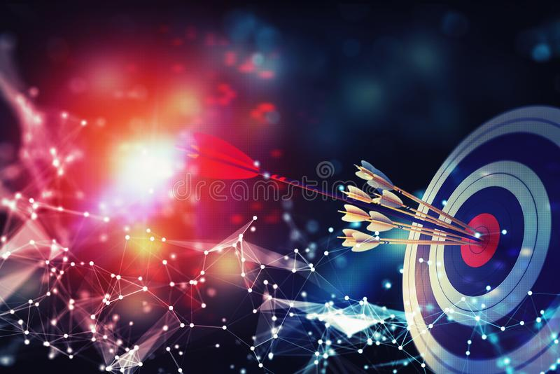 Arrow hit the center of target on abstract background with network effects. Business target achievement concept. 3D royalty free illustration