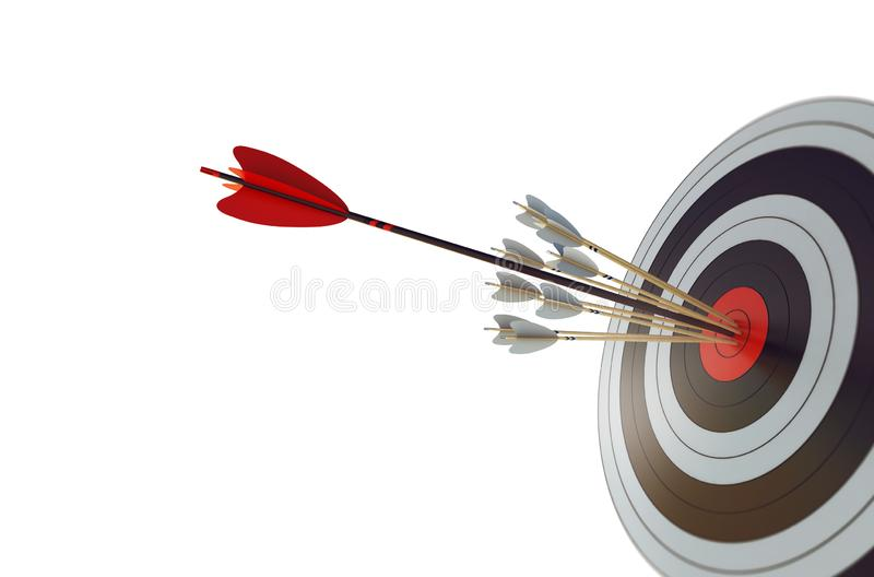 Arrow hit the center of target. Business target achievement concept. Isolated on white background. 3D Rendering royalty free illustration