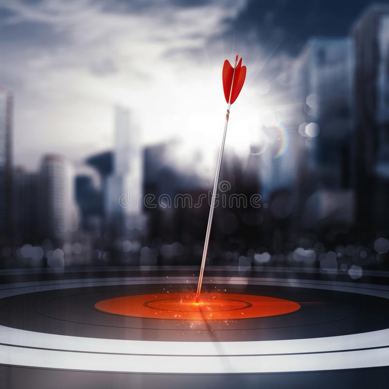 Arrow hit the center of target with modern skyscraper background. Business target achievement concept. 3D Rendering. Target hit in the middle by arrow. Business royalty free illustration