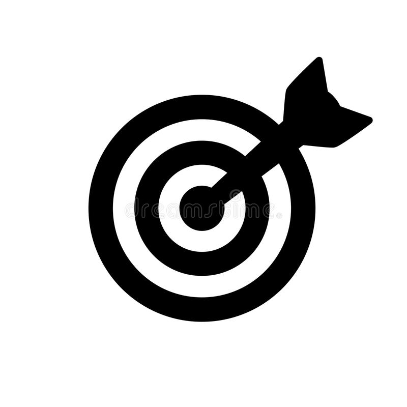 Target Icon. Black target icon isolated on white royalty free illustration