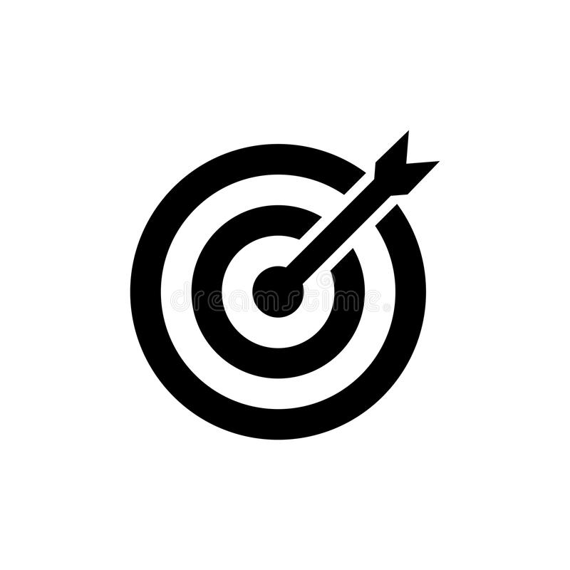 Target Icon in flat style. Aim symbol. Isolated on white background. Simple abstract drawing icon in black. Vector illustration for graphic design, Web site royalty free illustration