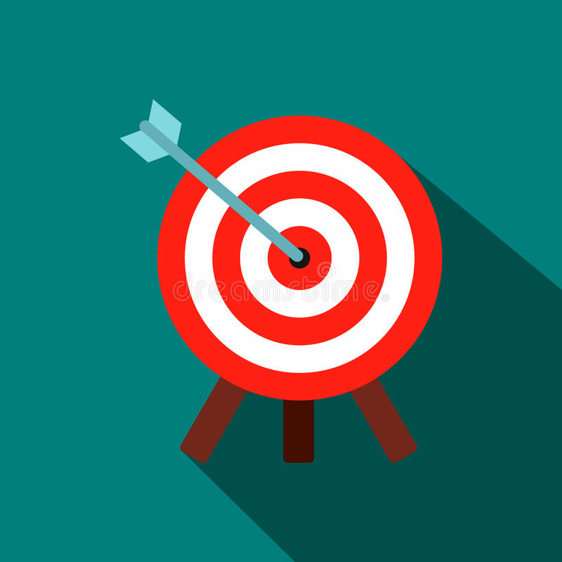 Target icon in flat style. On a blue background stock illustration