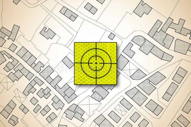 Target icon over an imaginary cadastral map of territory with buildings, roads and land parcel - concept image of focus on real stock illustration