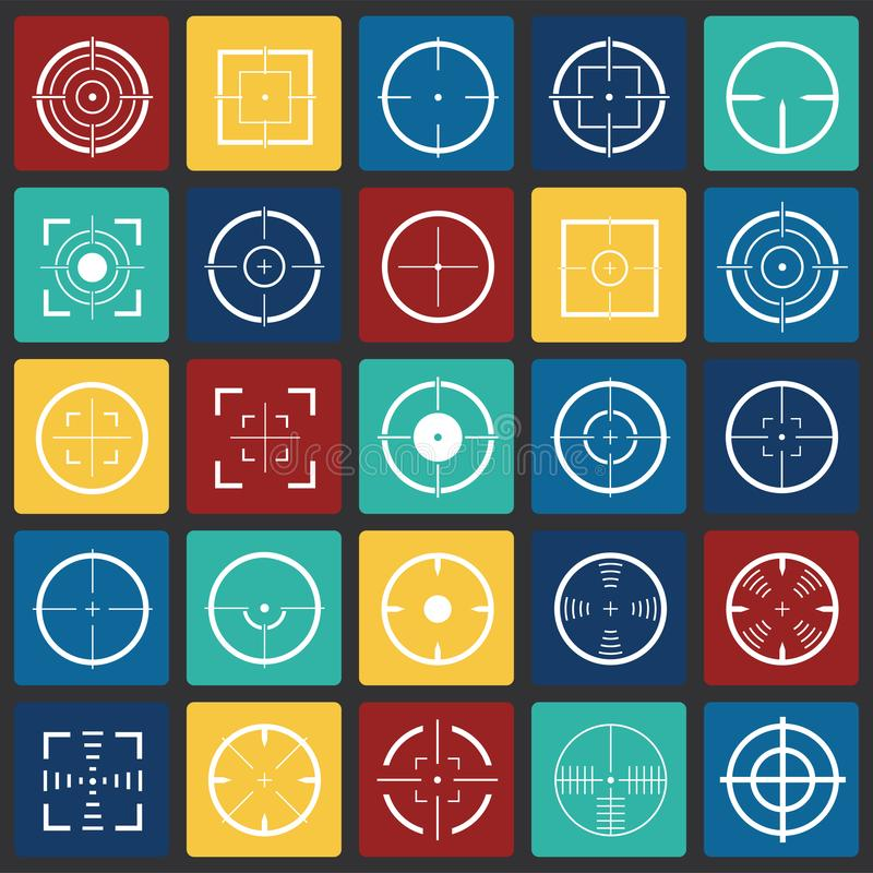 Target icon set on color squares background for graphic and web design, Modern simple vector sign. Internet concept. Trendy symbol vector illustration