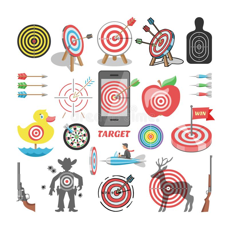 Target icon vector arrow in aim of dartboard and goal of success business strategy illustration set of sport darts game royalty free illustration