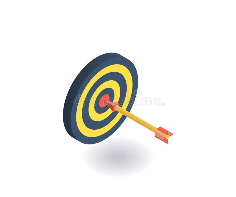 Target icon. Vector illustration in flat isometric 3D style.  stock illustration
