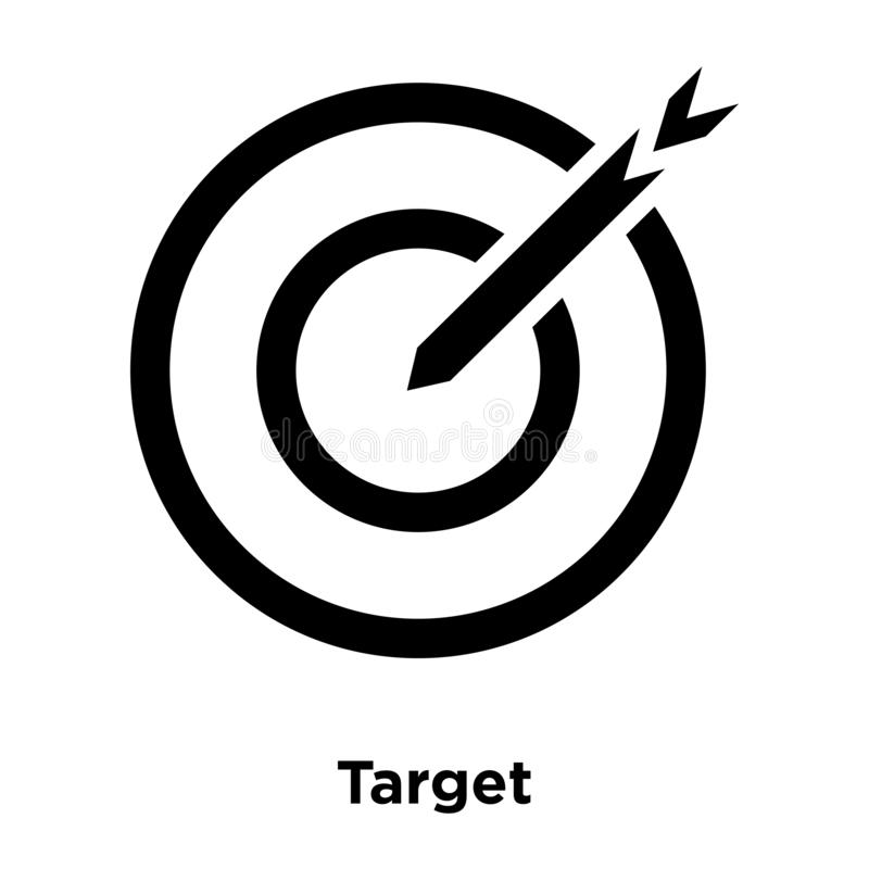 Target icon vector isolated on white background, logo concept of. Target sign on transparent background, filled black symbol vector illustration