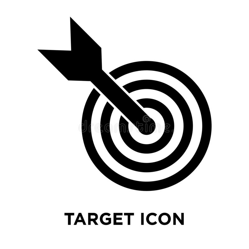 Target icon vector isolated on white background, logo concept of. Target sign on transparent background, filled black symbol stock illustration