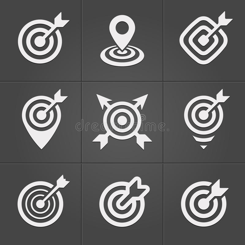 Target icons pack for business mobile interface. Target icons pack on black for business mobile web interface royalty free illustration