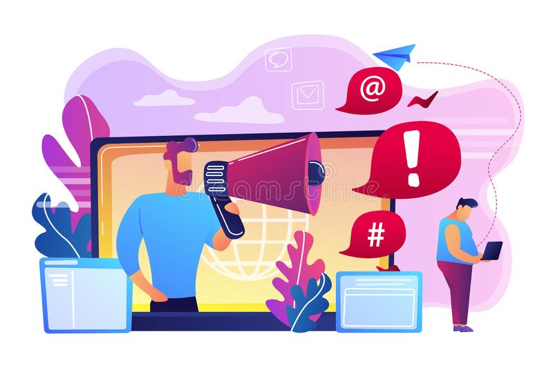 Internet shaming concept vector illustration. Target individual with laptop attacked online by user with megaphone. Internet shaming, online harassment, cyber royalty free illustration