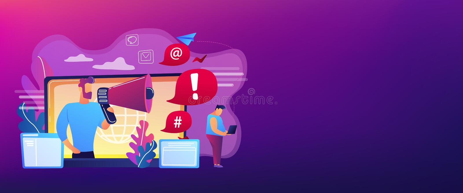 Internet shaming concept banner header. Target individual with laptop attacked online by user with megaphone. Internet shaming, online harassment, cyber crime stock illustration