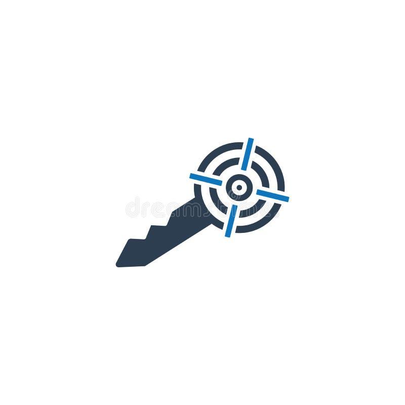 Target Key Icon. Key to Success Icon royalty free illustration