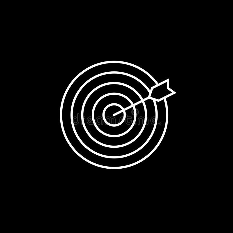 Target keyword line icon. Seo and development, Darts sign, a linear pattern on a black background, eps 10 royalty free illustration