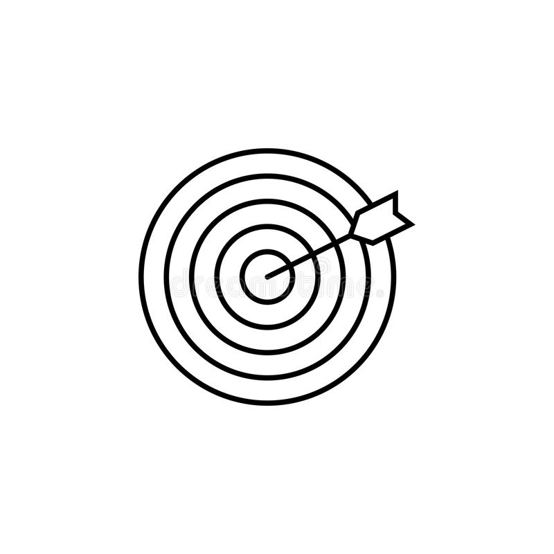 Target keyword line icon. Seo and development, Darts sign, a linear pattern on a white background, eps 10 royalty free illustration