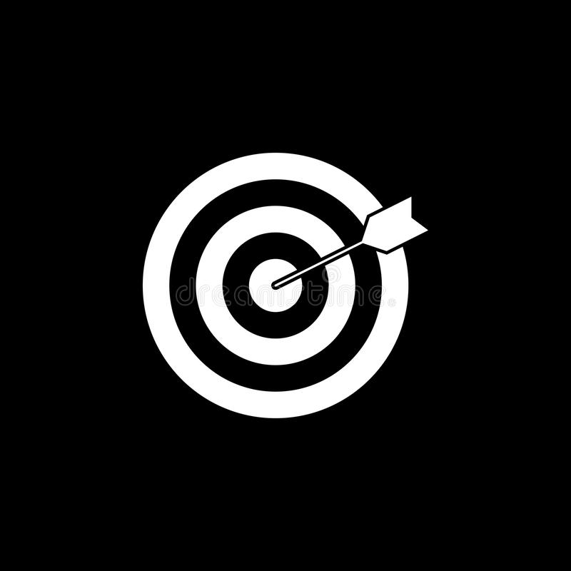 Target keyword solid icon. Seo and development, Darts sign, a filled pattern on a black background, eps 10 royalty free illustration