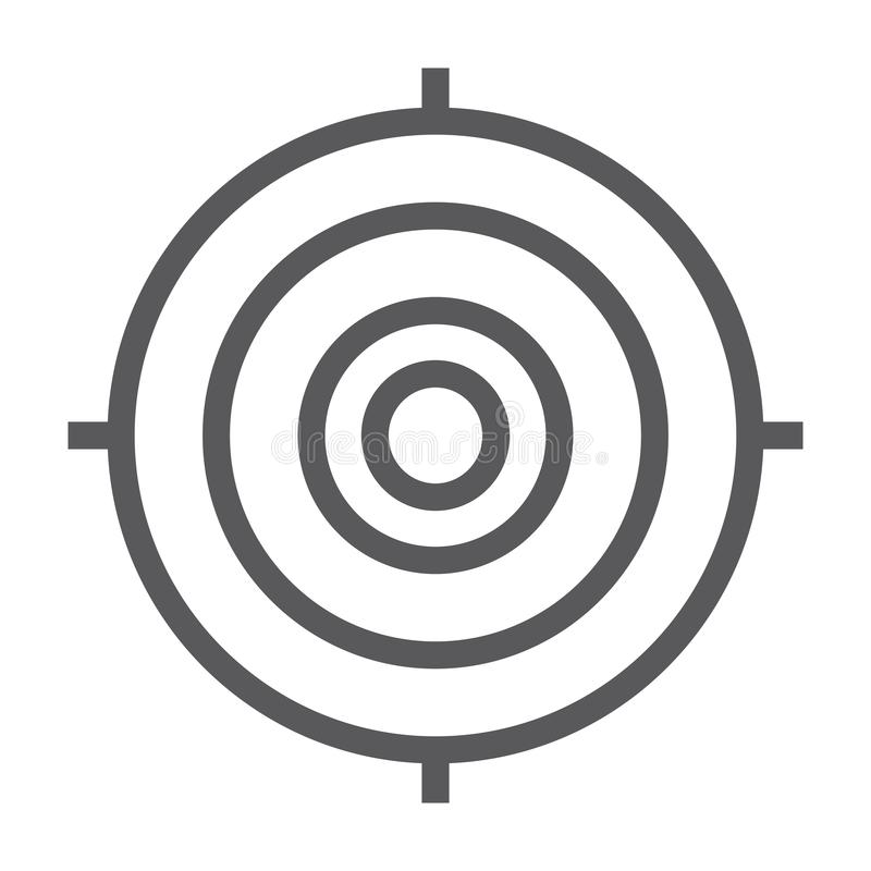Target line icon, focus and goal, aim sign, vector graphics, a linear pattern on a white background. vector illustration