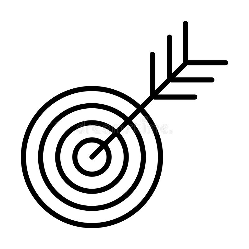 Target line icon. Successful shoot. Goal outline sign concept. Vector royalty free illustration