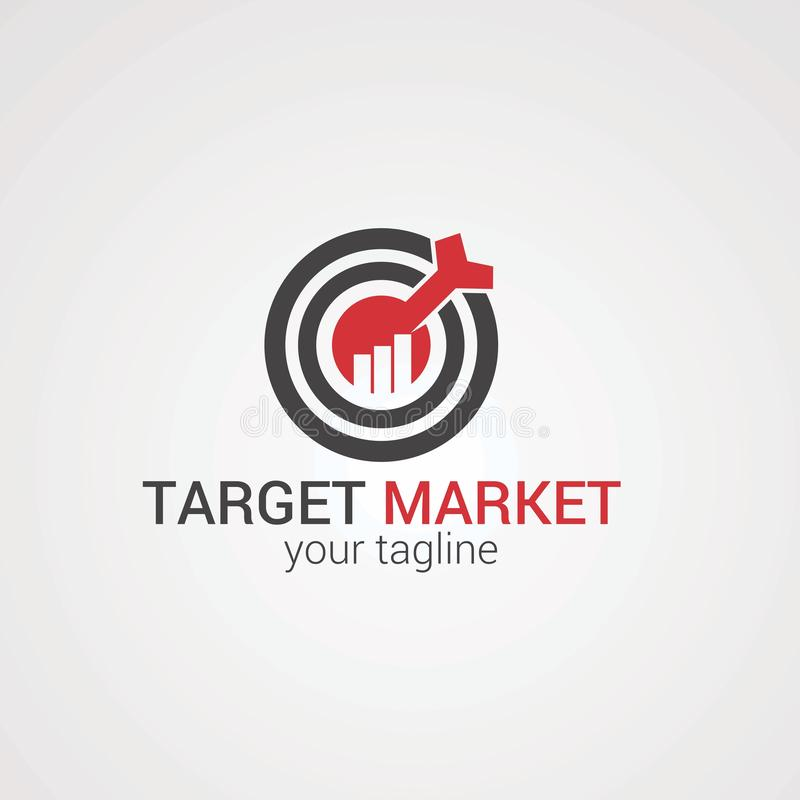 Target market with red arrow on center logo vector, icon, element, and template for company stock illustration