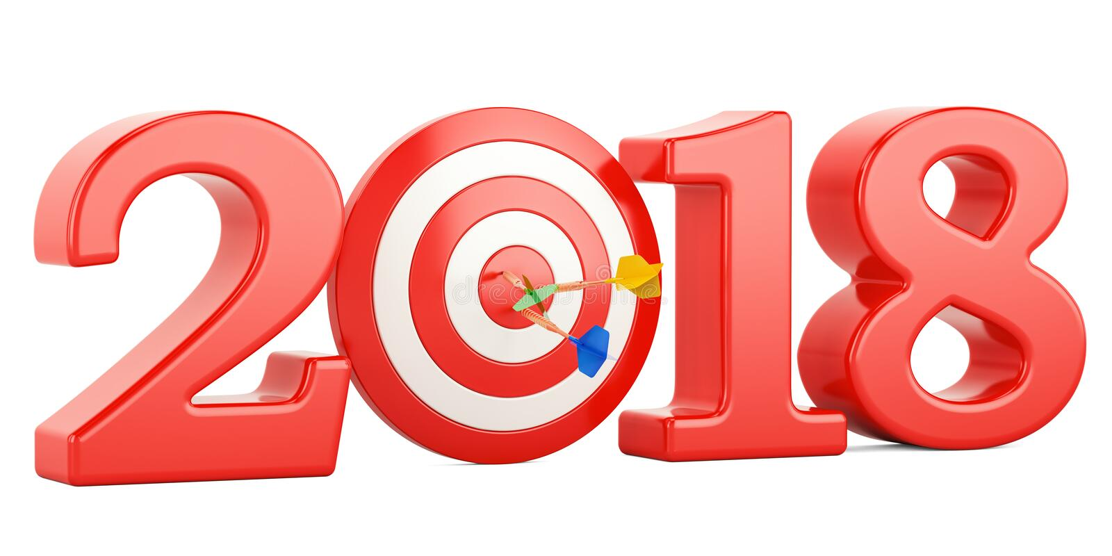 Target and mission of 2018 New Year concept, 3D rendering stock illustration