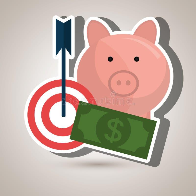 Target money piggy cash. Illustration eps 10 stock illustration