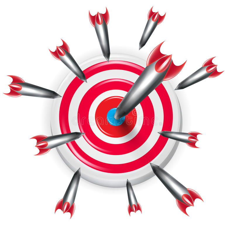 Target with multiple arrows aiming on the center stock illustration