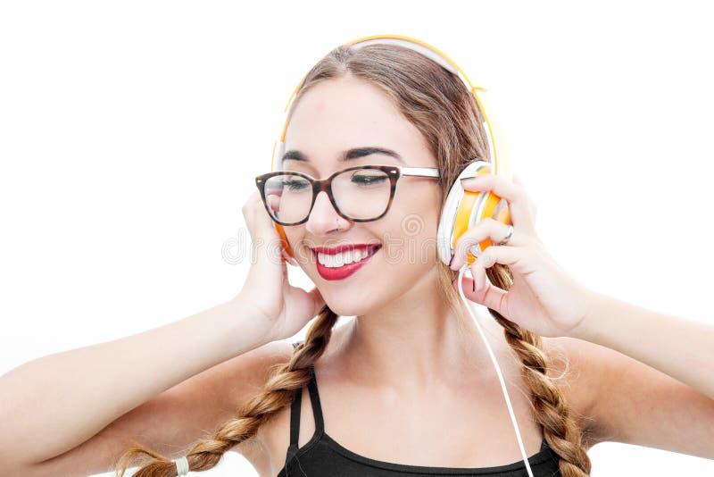 target224_1_ muzykę dziewczyna hełmofony obrazy stock