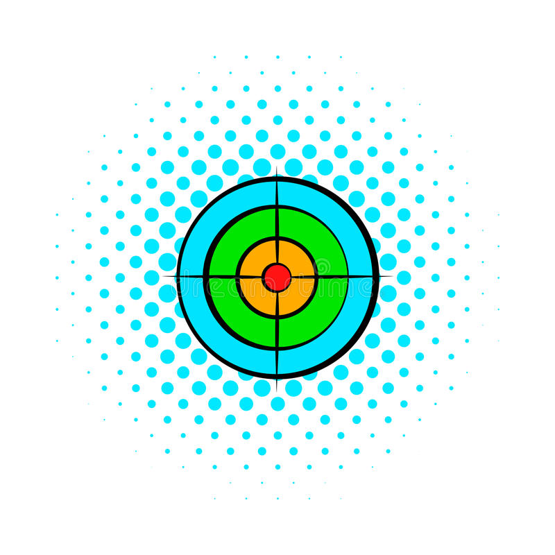Target with paintball ball comics icon stock illustration
