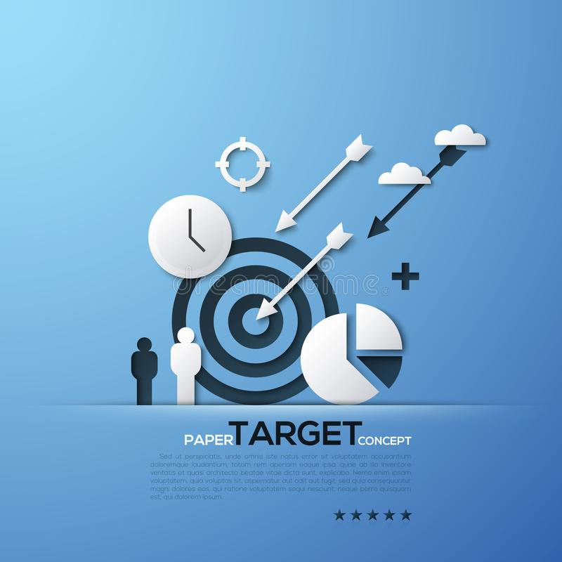 Target paper concept. White silhouettes of aim, arrows, person, clouds, watches and pie chart. Modern elements in royalty free illustration