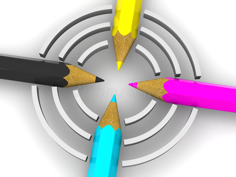 Download Target from pencils. CMYK stock illustration. Image of equipment - 3183197