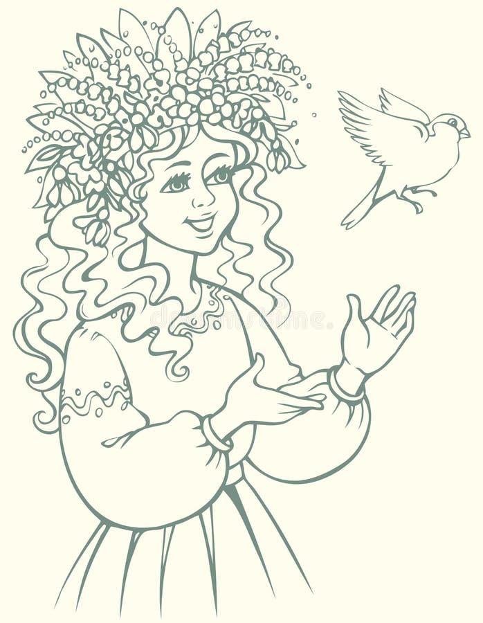 target1888_0_ polowania labiryntu obrazka węża wektor Dziewczyna patrzeje ptaka w wianku ilustracji