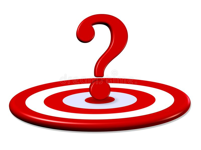 Target with Question Mark - 3D Rendering - Stock image royalty free illustration