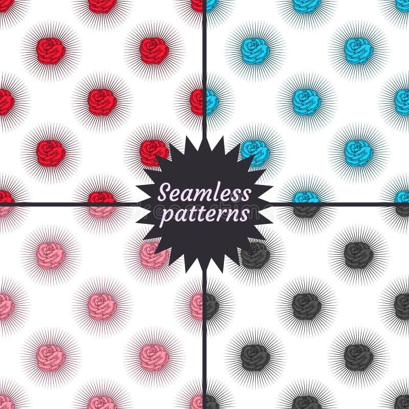 target1433_0_ róże bezszwowego cztery wzoru royalty ilustracja