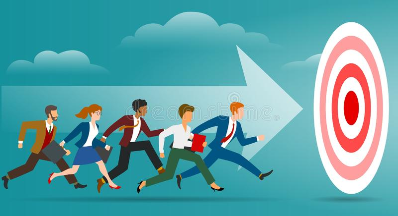 Target running business. Professional success path to goal, efforts reaching achieving cartoon vector illustration vector illustration