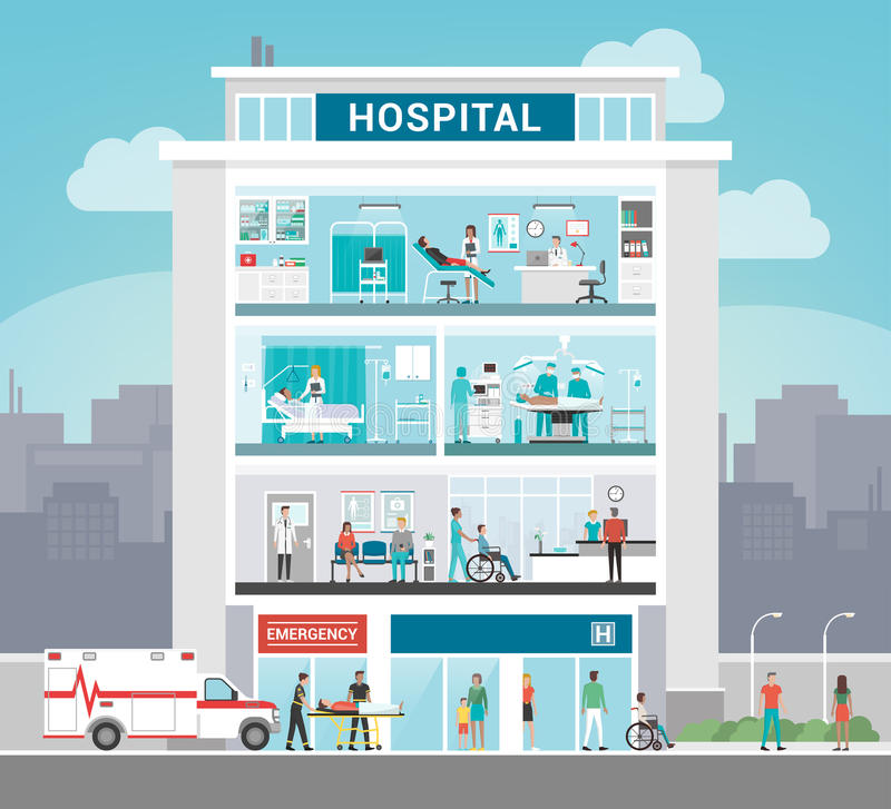 target1063_1_ rysujący ręki szpitalny ilustraci wektoru biel ilustracja wektor