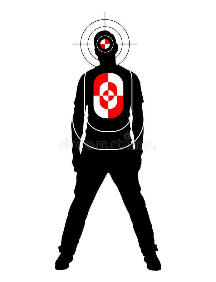 Target for shooting practice in man silhouette shape with marks on head and body royalty free illustration