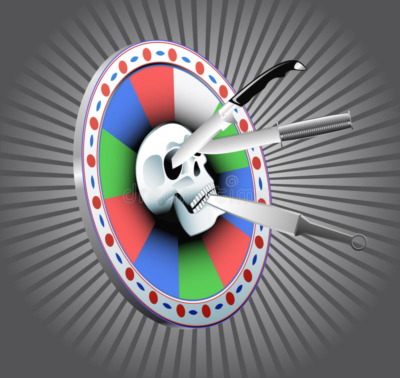 Download Target With A Skull And Throwing Knives. Stock Vector - Image: 21902700