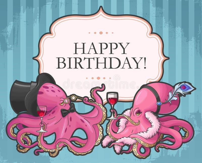 target1618_1_ stary papierowy retro urodzinowa karta royalty ilustracja