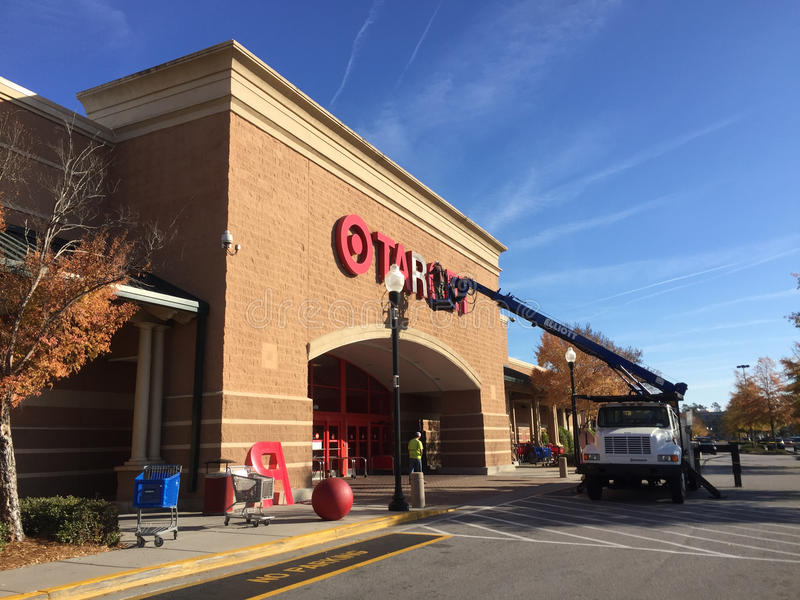 Target store sign getting fixed royalty free stock photo