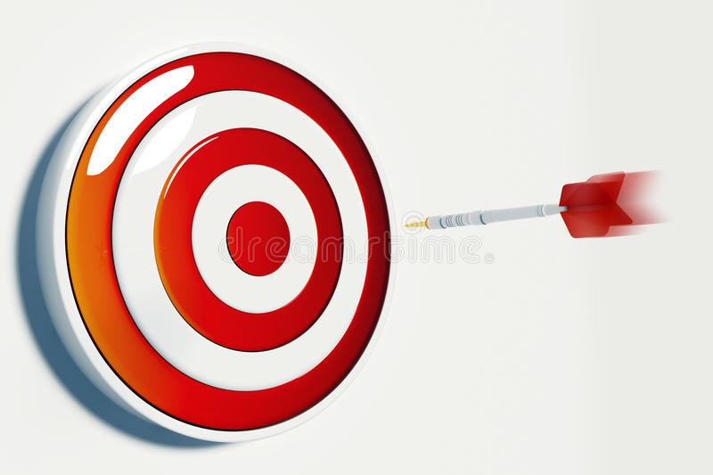 Target and Success. Dart hitting the bullseye of a red success target royalty free illustration