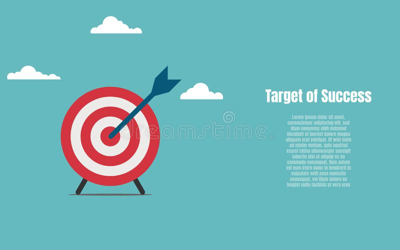 Target of Success. Arrow and target symbol to success. Business financial and Investment concept. Vector flat stock illustration