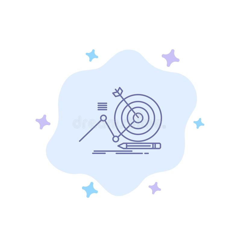 Target, Success, Goal, Focus Blue Icon on Abstract Cloud Background stock illustration