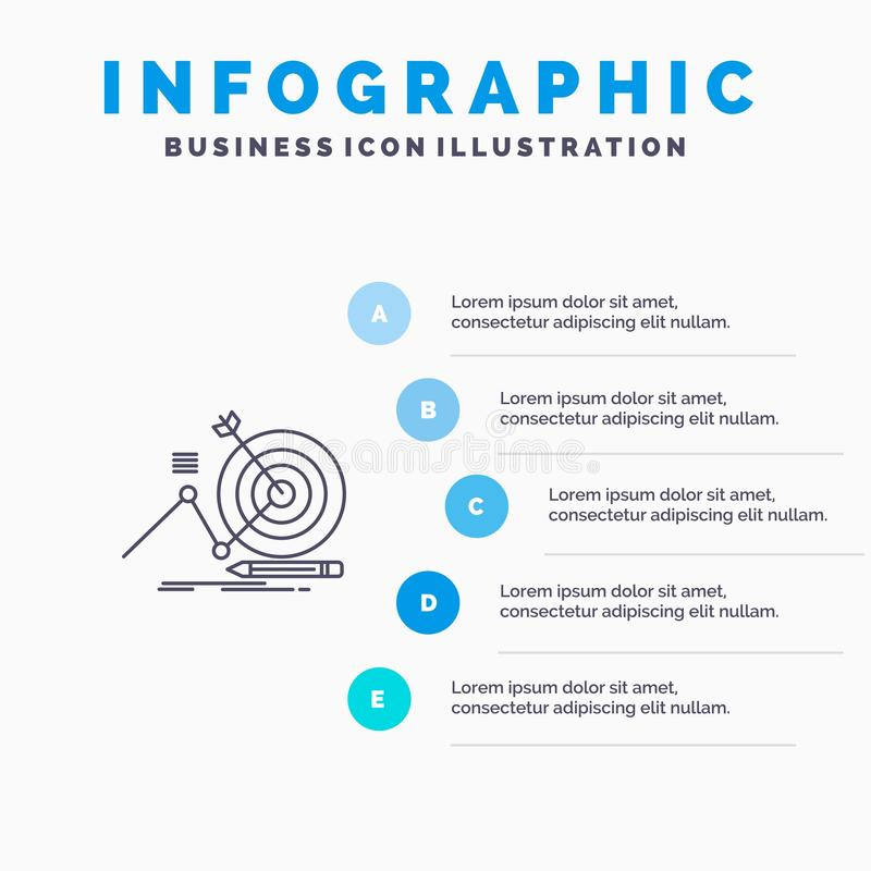 Target, Success, Goal, Focus Line icon with 5 steps presentation infographics Background stock illustration
