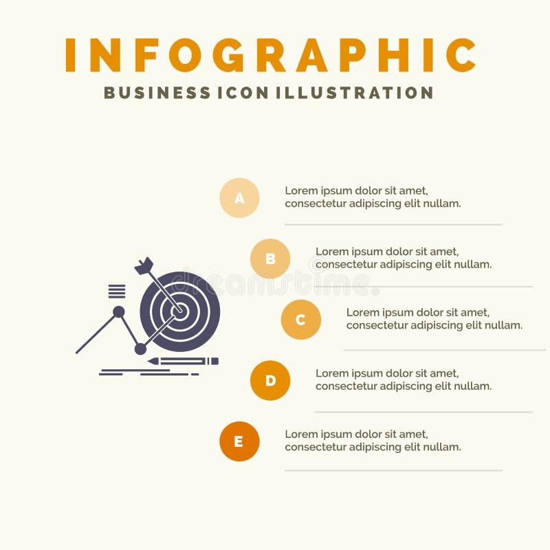 Target, Success, Goal, Focus Solid Icon Infographics 5 Steps Presentation Background stock illustration