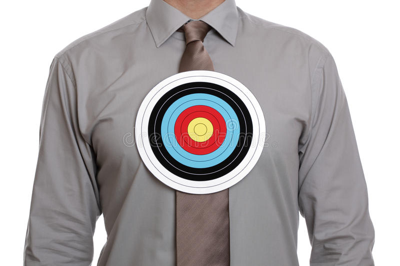 Download Target Symbol On Businessman Chest Royalty Free Stock Image - Image: 21668856