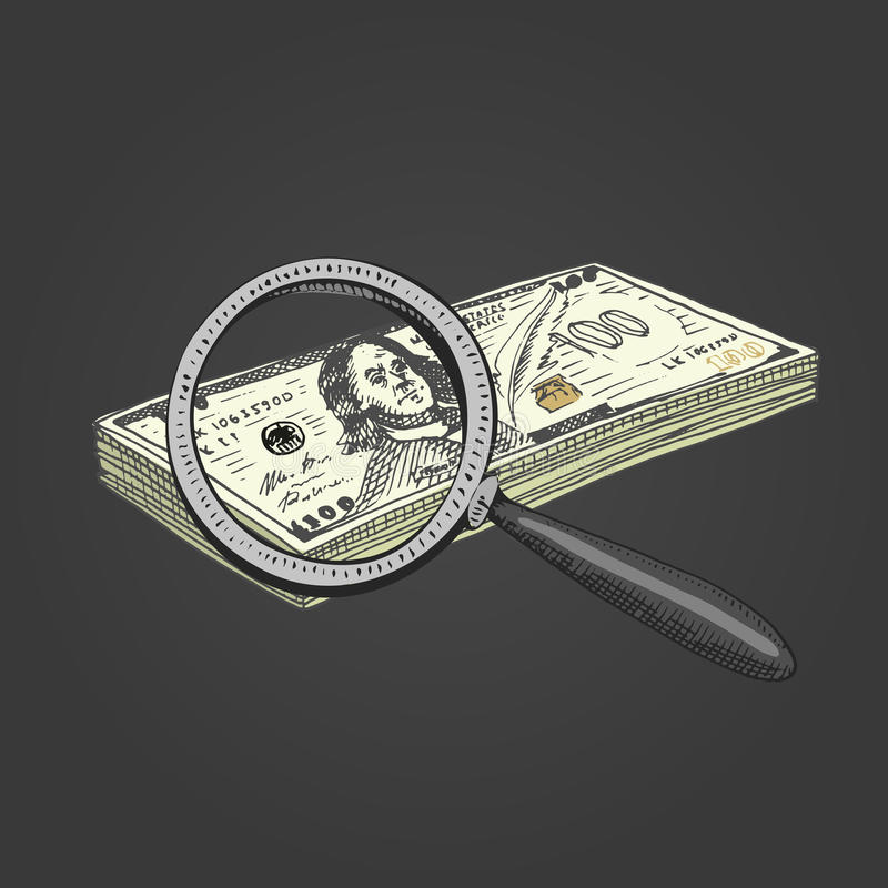 target121_0_ szkło pieniądze grawerująca ręka rysująca w starych nakreślenia i rocznika symbolach Sprawdzać autentyczność dolar royalty ilustracja