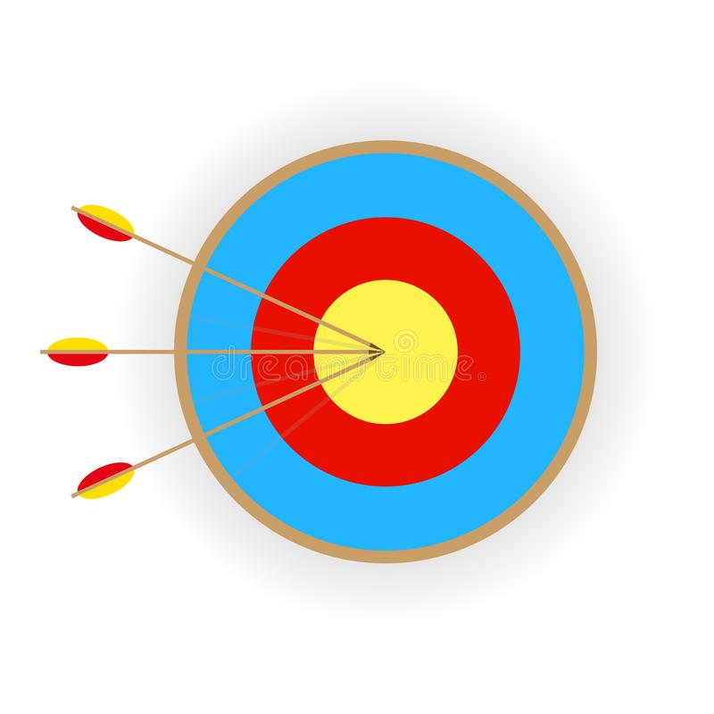 target with three arrows with shadow on white background stock illustration