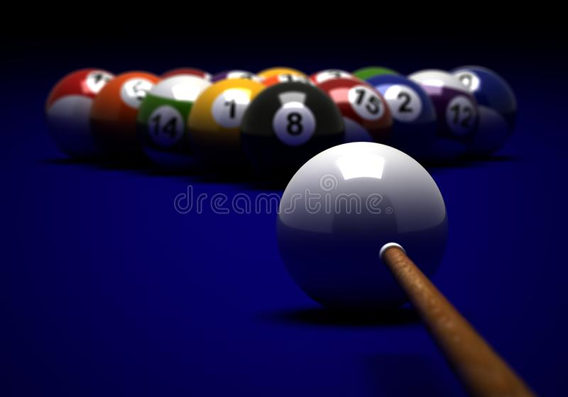 Target to Billiard Balls. Billiard balls and cue on blue background vector illustration