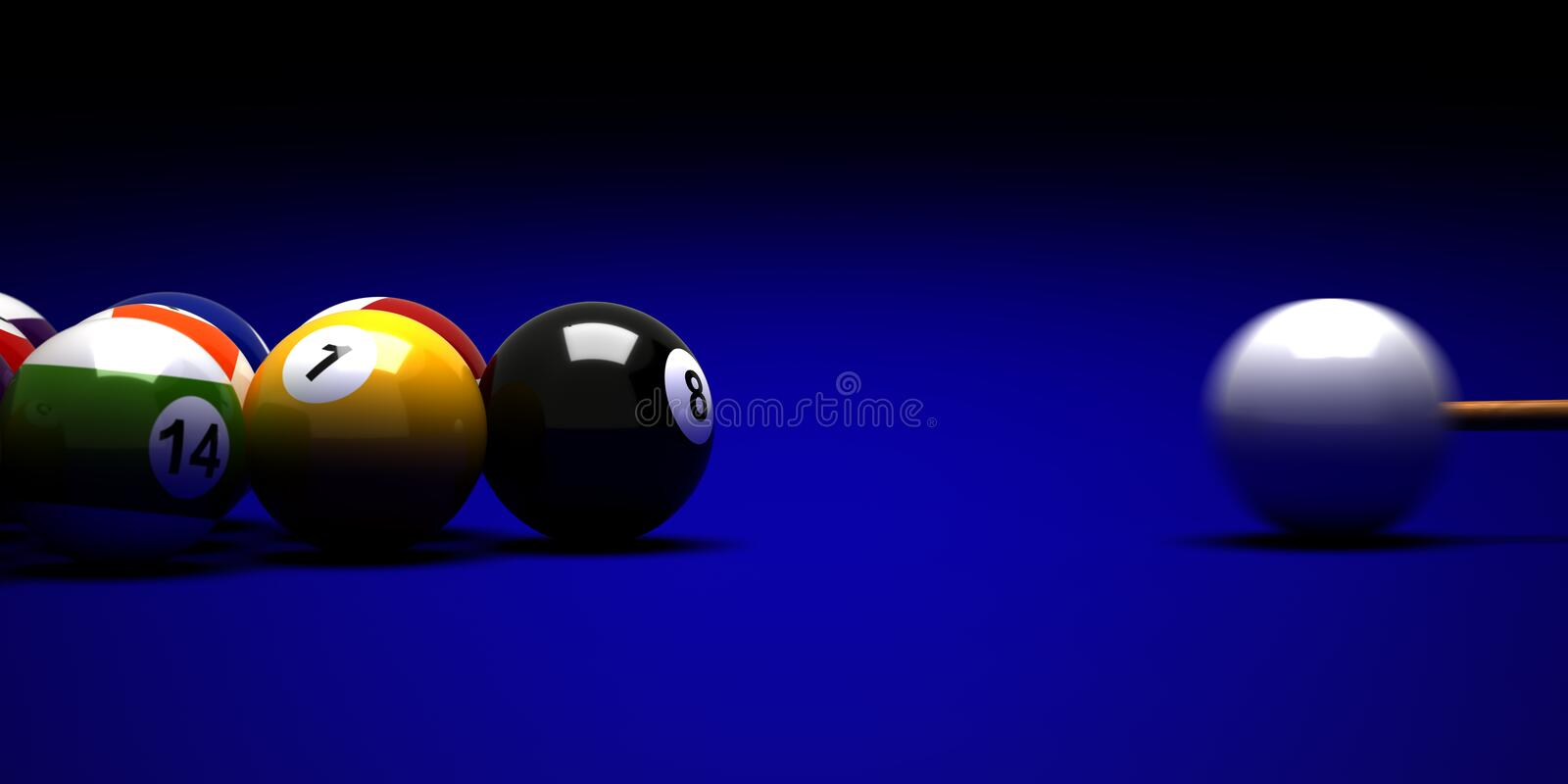 Target to Billiard Balls. Billiard balls and cue on blue background royalty free illustration